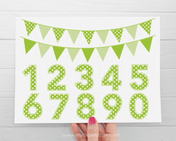 Alphabet Clipart - Polka Dot Numbers and Bunting (Rainbow Colors)