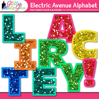 Electric Ave Glitter Alphabet Clip Art {Great for Classroom Decor & Resources}