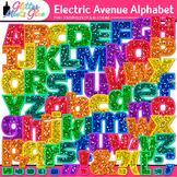 Electric Ave Glitter Alphabet Clip Art | Glitter Letters for Classroom Decor