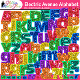 Electric Ave Glitter Alphabet Clip Art {Glitter Meets Glue}