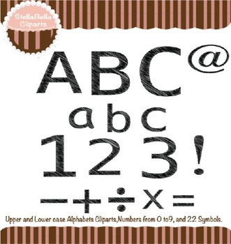 Alphabet Clipart- Scribble Style in Black