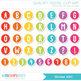 Alphabet Clipart - Sticker Alphabet / Rainbow ABC