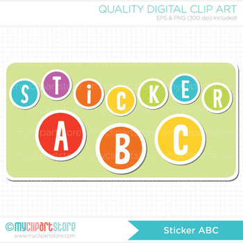 FREE Alphabet Clipart - Sticker Alphabet / Rainbow ABC