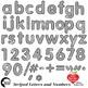 Alphabet Clipart, Striped Letters, Numbers, Symbols, Black Outline AMB-2432-8