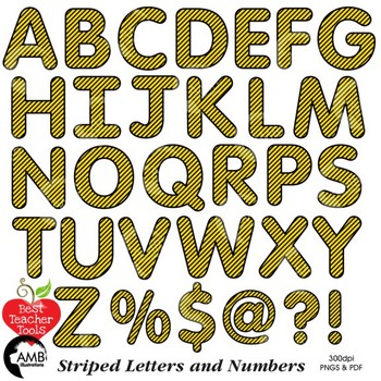 Alphabet Clipart, Striped Letters, Numbers, Symbols, Yellow and Black AMB-2432-7
