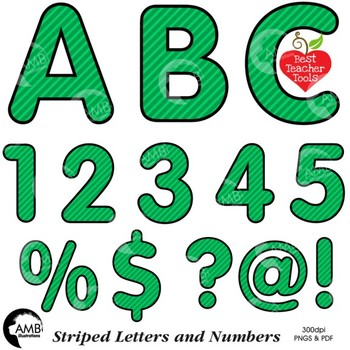 Alphabet Clipart, Striped Letters and Numbers and Symbols in Green AMB-2432-4