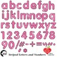 Alphabet Clipart, Striped Letters and Numbers and Symbols in Pink AMB-2432-5