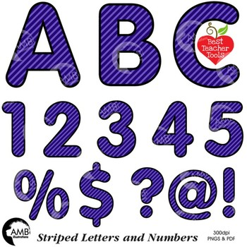 Alphabet Clipart, Striped Letters and Numbers and Symbols in Purple AMB-2432-6