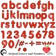 Alphabet Clipart, Striped Letters and Numbers and Symbols in Red AMB-2432-3