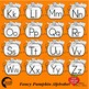 Alphabet Clipart, Word Wall Tags Clipart, Pumpkin Black Outlines, AMB-2242