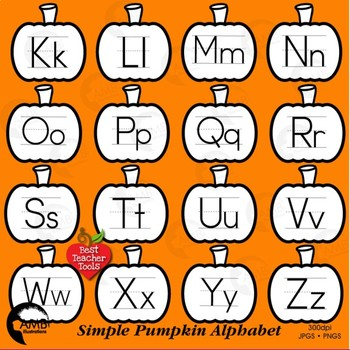 Alphabet Clipart, Word Wall Tags Clipart, Pumpkin Black Outlines, AMB-2243