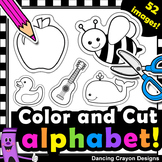 Alphabet Clipart with Cutting Lines | Tracing Lines | Clip Art for Teachers