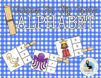 Alphabet Clothes Pin Clip Cards: Beginning Sounds