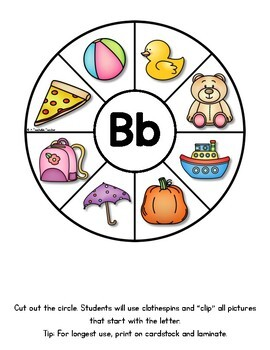 Fine Motor Activities: Beginning Sound Clothespin Activities