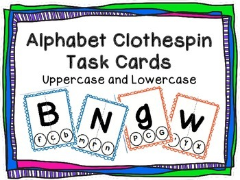 Alphabet Clothespin Match Task Cards