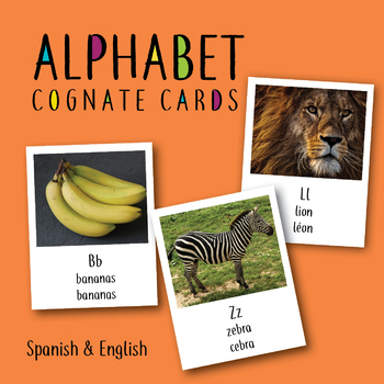 Alphabet Cognate Cards English and Spanish ESL