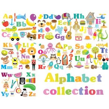 Alphabet Collection Clipart & Vector Set - Instant Download - 135 clipart
