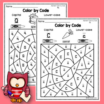 Alphabet Color By Code Worksheets 26 pages for Beginners