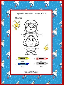Space Color by Letters Coloring Pages NO PREP Worksheets F