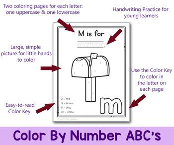 Alphabet Color By Number Worksheets