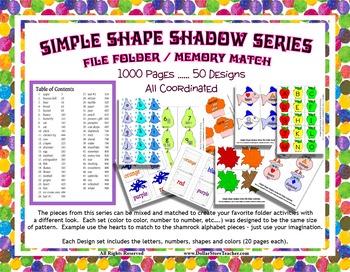 Alphabet Color Number Shape Huge 1000 page Design Memory File Folder Set