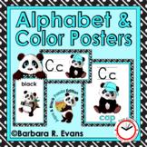 CLASSROOM DECOR Alphabet Posters Color Posters Aqua and Black Theme