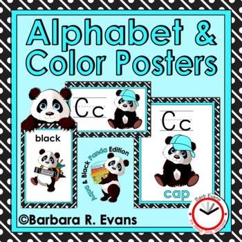 ALPHABET & COLOR POSTERS: Aqua & Black Edition