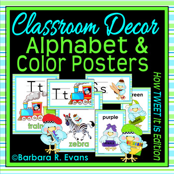 ALPHABET & COLOR POSTERS: Classroom Decor, Blue and Green Theme