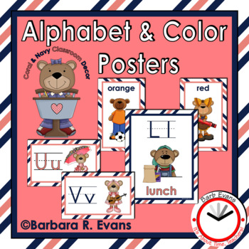 ALPHABET & COLOR POSTERS: Coral & Navy Edition