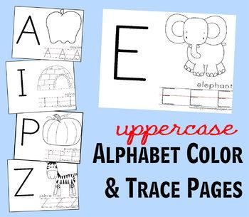 Alphabet Color & Trace Sheets - Preschool / Kindergarten