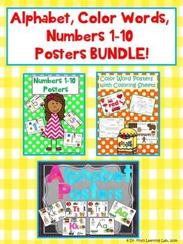 Alphabet, Color Words, & Numbers 1-10 Anchor Charts BUNDLE!