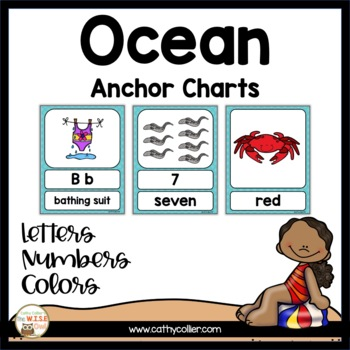 Alphabet, Color, and Number Cards:  Ocean