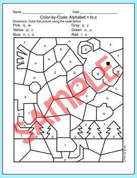 Alphabet Color by Code Polar Bear Winter Activities