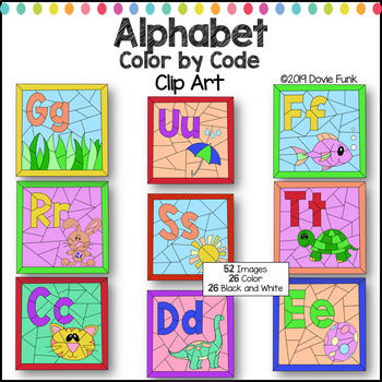 Alphabet Color by Code Clip Art Letters and Pictures