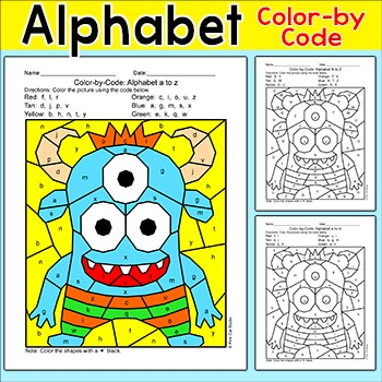 Alphabet Color by Code Monster Activity - Captial Letters & Lowercase Letters