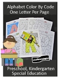 Alphabet Letter Coloring Pages, Color by Code, Letter Recognition, Special Ed
