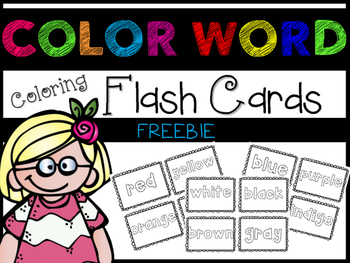 Color Word Coloring Flash Cards ~ FREEBIE!