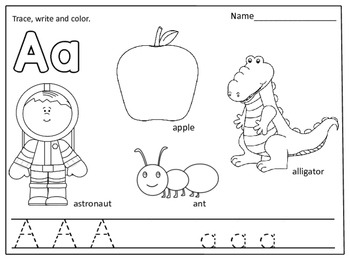 Alphabet Coloring Pages (Color, trace and write):