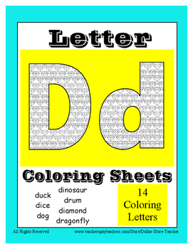 Alphabet Coloring Pages for the Letter D ~ 7 Beginning Sou