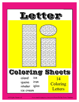 Alphabet Coloring Pages for the Letter I ~ 7 Beginning Sound Pictures for I