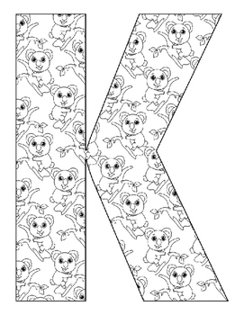 Alphabet Coloring Pages for the Letter K ~ 7 Beginning Sound Pictures for K