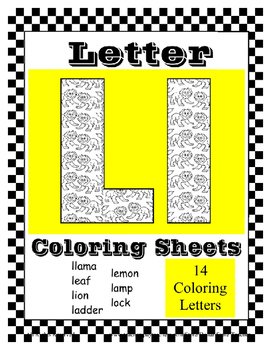 Alphabet Coloring Pages for the Letter L ~ 7 Beginning Sou