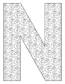 Alphabet Coloring Pages for the Letter N ~ 7 Beginning Sound Pictures for N
