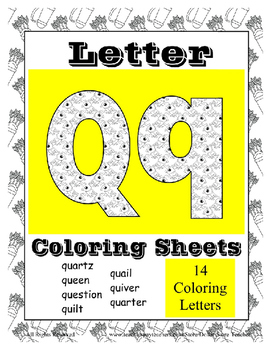 Alphabet Coloring Pages for the Letter Q ~ 7 Beginning Sound Pictures for Q
