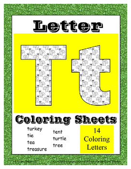 Alphabet Coloring Pages for the Letter T ~ 7 Beginning Sound Pictures for T