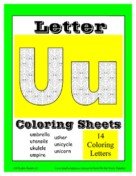Alphabet Coloring Pages for the Letter U ~ 7 Beginning Sound Pictures for U