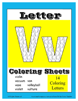 Alphabet Coloring Pages for the Letter V ~ 7 Beginning Sound Pictures for V
