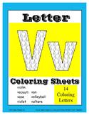 Alphabet Coloring Pages for the Letter V ~ 7 Beginning Sou