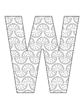 Alphabet Coloring Pages for the Letter W ~ 7 Beginning Sound Pictures for W