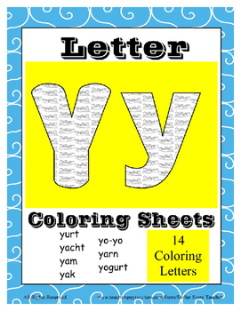 Alphabet Coloring Pages for the Letter Y ~ 7 Beginning Sound Pictures for Y